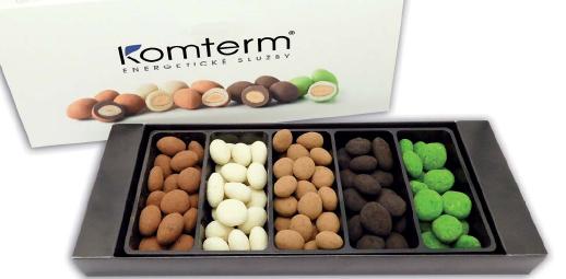 Reklamní čokoládičky v podobě oříšků v čokoládě